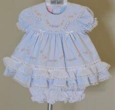 NWT Will'beth Blue Heirloom Ruffle Lace 2pc Dress Newborn Bloomers Girls