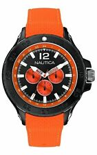 Nautica Men's Multi-Dial Orange Silicone Band Black Stainless Steel 49mm Watch