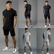 Mens T-Shirt Shorts Set 2 Piece Outfits Sportswear Short Sleeve Sport Tracksuit