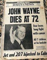New York Daily News Newspaper-John Wayne Dies at 72-June 12nd 1979