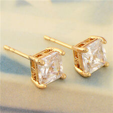 Womens Stunning 9K Yellow Gold Filled Clear CZ Square Stud Earrings  Wholesale