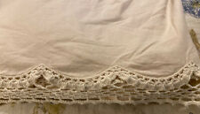 King Size Cream/ Ecru  Cotton Dust Ruffle With Crocheted Lace Trim