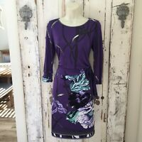 Elie Tahari Size XS Woman's Purple Gray White Blue Floral Sheath Career Dress