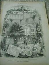 Gravure 1878 - Expo Universelle Le Pavillon de Monaco vue interieur exterieure