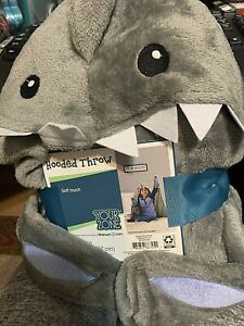 New! Shark Hooded Throw Your Zone Gray Blanket 40X50 Inches With Hands NEW