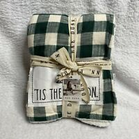 ** NEW ** Rae Dunn TIS THE SEASON SHERPA THROW BLANKET Christmas Green Checkered