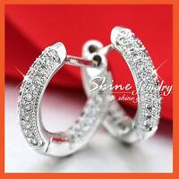 9K 9CT WHITE GOLD GF WOMEN LUXURY Simulated Diamond WEDDING HOOP HUGGIE EARRINGS