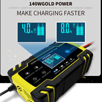 LCD Pulse Repair Charger For Motorcycle Car AGM GEL WET Lead Acid Battery 12/24V