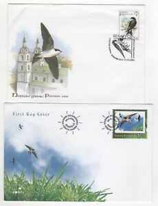 2004 BELARUS & FINLAND - 2 x First Day Covers BIRDS / SWALLOWS