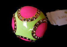 KATE SPADE Pinata Park Enamel PINK YELLOW Gold plated Band Ring Size 6 NWT