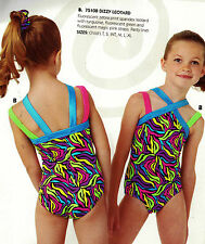 NWT Gymnastics leotard MultiColor Wiggles w/ double straps Scrunchie Girls szs