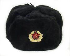 ouchanka russe chapeau hiver militaire style / étoile rouge BADGE taille XL Noir
