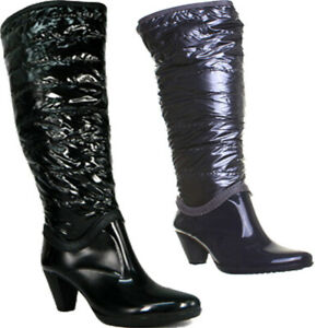 Womens Block Heel Knee High Boots With Side Zip And Round Toe Size UK 3 - 8