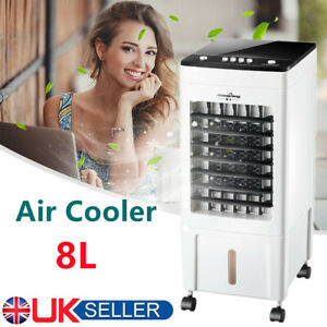 8L Mobile Air Cooler Conditioner Portable Humidifier Floor ice Cooling Fan UK