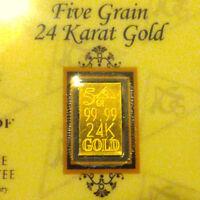 ACB Gold 5GRAIN BULLION MINTED Bars 9999 fine certificate of authenticity $