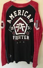 Men's Xl American Fighter Long Sleeve Graphic Gym Shirt Black And Red