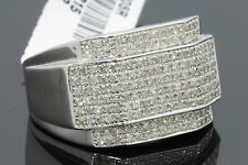 .87 CARAT 100% GENUINE DIAMONDS MENS WHITE GOLD FINISH ENGAGEMENT PINKY RING