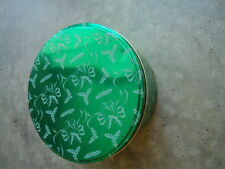 Green with Holly & Ribbon Motif Tin 3 Inches Tall x 6 ½ Diameter