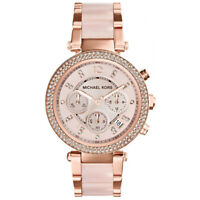 NEW MICHAEL KORS LADIES PARKER ROSE GOLD BLUSH WATCH - MK5896 - RRP £229