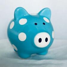 Collectible Blue w/White Polka-Dots Ceramic Pig / Piggy Bank