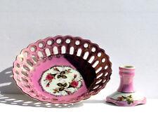2 pc Vtg Reticulated Gold Trim Lusterware Floral Porcelain Bowl & Candle Holder