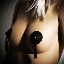 Bijoux Indiscrets Leather Burlesque Tassled Pasties Self Adhesive Nipple Covers