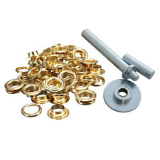 50 x 12.5mm Gold Tent Eyelets Grommet Tarpaulin Groundsheet Repair Fix Hole Kit