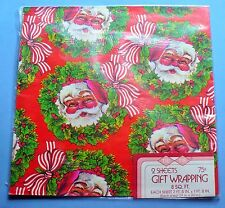 "VINTAGE CHRISTMAS SANTA WREATH GIFT WRAP PAPER 2 SHEETS 29"" X 20"" SEALED PKG"