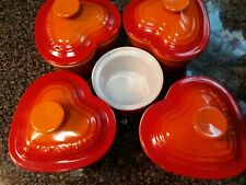 New listing 4 Le Creuset Stoneware Heart Ramekin w/Lid Mini Cerise Casserole Dish w/bonus