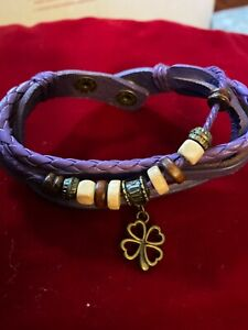 Purple Twisted Braided Beaded Snap Girls Bracelet Two Size Snaps 7 Or 8 Inch