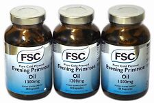 3 X FSC Pure Cold Pressed Evening Primrose Oil 1300mg 60 Capsules