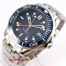 41mm bliger sterile blue dial sapphire glass GMT date automatic mens watch B296