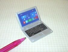 Miniature Silver Plastic Laptop Computer, High Detail: DOLLHOUSE 1:12