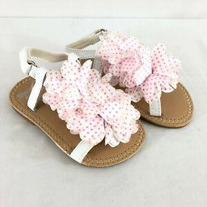 Stepping Stones Toddler Girls Sandals Floral Applique Polka Dot White Pink 4