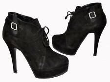 Tony Bianco Black Genuine Suede (Leather) Women's Lace-Up Ankle Boots Size 6