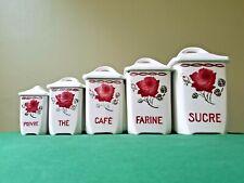 """5 Pots à épices anciens en faïence BADONVILLER (FB) motif """"Rose"""""""