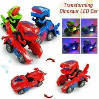 2020 Transforming Dinosaur LED Car Toys With Light Sound Kids Dinosaur Raci V0O7