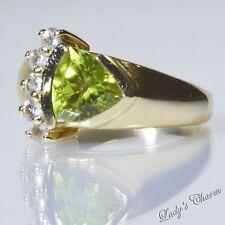 Laura Ramsey Designer 14K Yellow Gold Peridot Ring Size 7