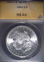 1882-S Morgan Silver Dollar ANACS MS63 , Clean For The Grade, Issue Free
