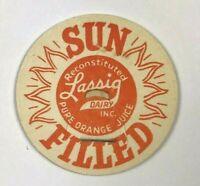 Lassig Dairy Sun Filled Pure Orange Juice Reconstituted Vintage Milk Bottle Cap