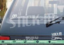 Peugeot 205 Stickers Autocollants Champion du monde rallyes lunette arrière GTI