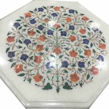 """12"""" Marble Table semi precious stones Floral Inlay Work"""