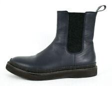 BRUNELLO CUCINELLI Midnight Blue Leather Monili Trim Chelsea Boots 41