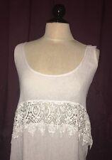 New Jen's Pirate Booty Grey White Boho Lace Maxi Long Dress Size L