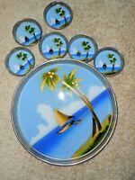Mid Cent Tiki Set TROPICAL Tray Coasters Barware Serving Japan TGT #22 Vintage