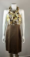 WORTH Yellow Brown Floral Silk Dress Size 6