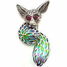 ART NOUVEAU PLIQUE A JOUR FOX W/ NATURAL RUBY EYES PENDANT BROOCH 925 SILVER