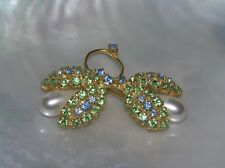 Two Faux Pearl Buds Pin Brooch – Vintage Blue & Green Rhinestone Leaves with