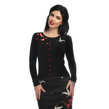 Collectif Vintage Jo Crane & Blossom Cardigan UK 8-22 Black Red