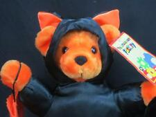 NEW HALLOWEEN BLACK KITTY CAT COSTUME ORANGE TEDDY BEAR TRICK-OR-TREAT BAG PLUSH